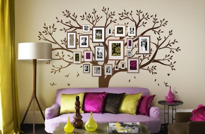Дерево в интерьере на стене своими руками